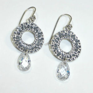 Silpada W1520 Hammered CZ Drop Earrings NEW